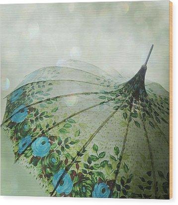 Raining Bokeh Wood Print