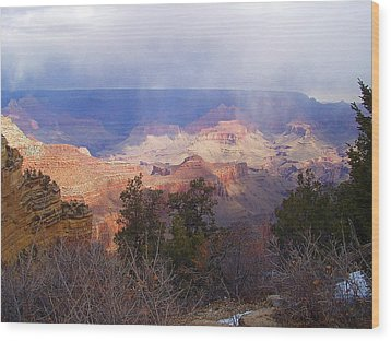 Raining In The Canyon Wood Print by Marna Edwards Flavell