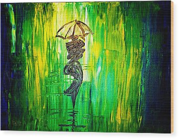 Wood Print featuring the painting Rainning Green by Piety Dsilva