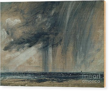 Rainstorm Over The Sea Wood Print by John Constable