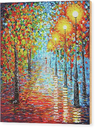 Wood Print featuring the painting Rainy Autumn Evening In The Park Acylic Palette Knife Painting by Georgeta Blanaru