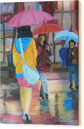 Rainy City Wood Print by Michael Lee