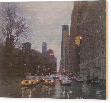 Rainy City Street Wood Print by Anita Burgermeister