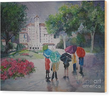 Rainy Day At The Broadmoor Hotel Wood Print by Reveille Kennedy