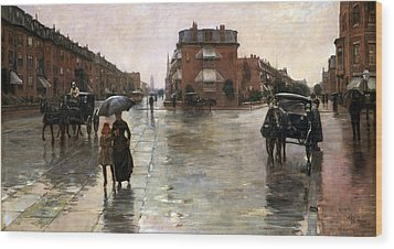 Wood Print featuring the painting Rainy Day, Boston - 1885  by Frederick Childe Hassam