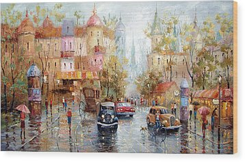 Wood Print featuring the painting Rainy Day by Dmitry Spiros