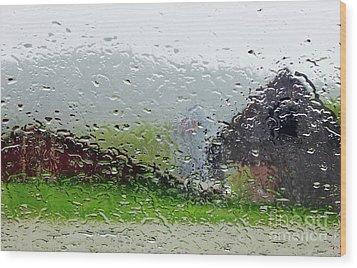 Rainy Day Farm Wood Print by Alice Mainville