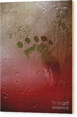 Rainy Day Hand Fist Footprint Wood Print by Anna Lisa Yoder