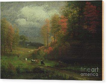 Rainy Day In Autumn Wood Print by Albert Bierstadt