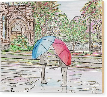 Rainy Day In Downtown Worcester, Ma Wood Print