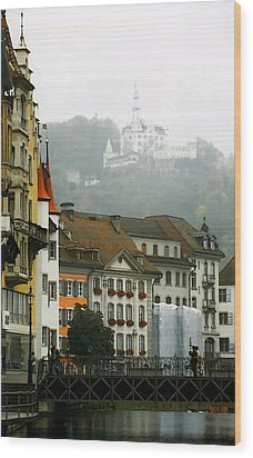 Rainy Day In Lucerne Wood Print by Linda  Parker