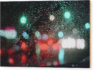 Rainy Day In The City Wood Print