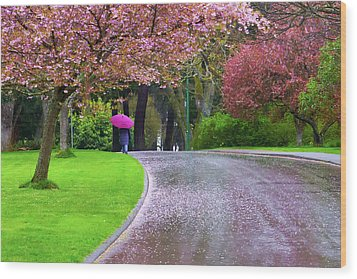 Rainy Day In The Park Wood Print