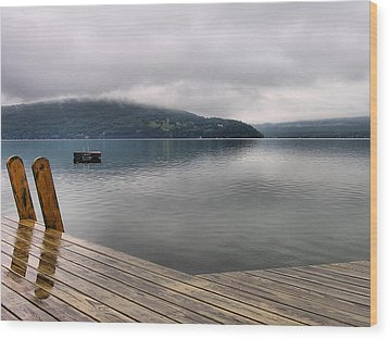 Rainy Day Keuka Wood Print by Steven Ainsworth