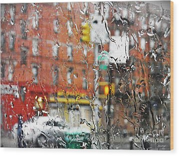 Rainy Day Nyc 2 Wood Print by Sarah Loft