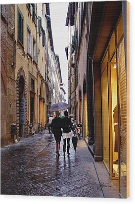 Wood Print featuring the photograph Rainy Day Shopping In Italy 2 by Nancy Bradley