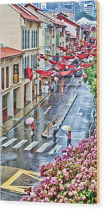 Rainy Day Singapore Wood Print by Louise Fahy