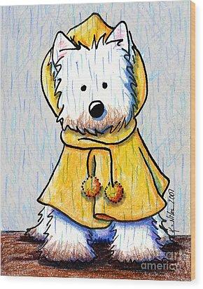 Rainy Day Westie Wood Print by Kim Niles