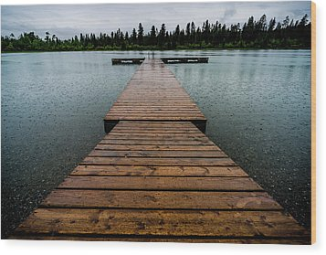 Wood Print featuring the photograph Rainy Dock by Darcy Michaelchuk