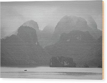 Wood Print featuring the photograph Rainy Ha Long Bay, Ha Long, 2014 by Hitendra SINKAR