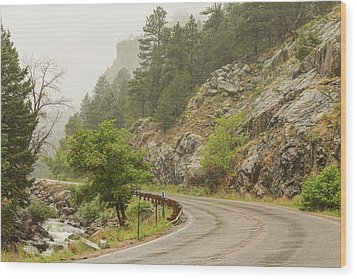Wood Print featuring the photograph Rainy Misty Boulder Creek And Boulder Canyon Drive by James BO Insogna