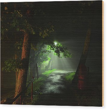 Rainy Night Wood Print