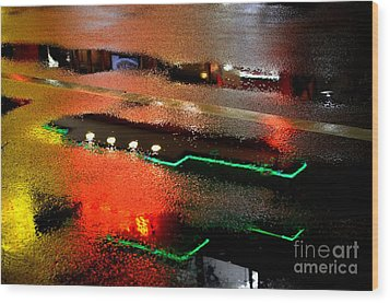 Rainy Night In Chinatown Wood Print by Dean Harte