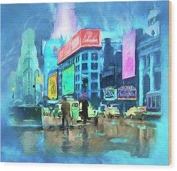 Rainy Night In New York Wood Print by Michael Cleere