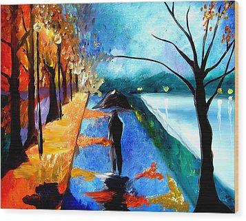 Rainy Night Wood Print by Tom Fedro - Fidostudio
