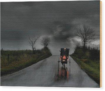 Rainy Ride Wood Print