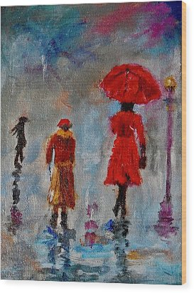 Wood Print featuring the painting Rainy Spring Day by Sher Nasser