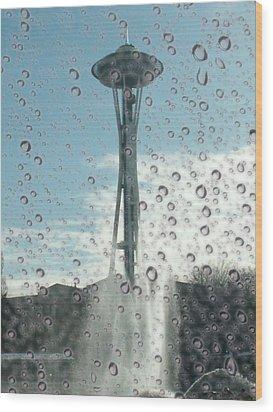 Rainy Window Needle Wood Print by Tim Allen