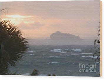 Rainy Xmas Sunrise Wood Print