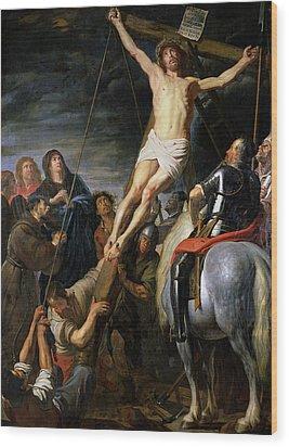 Raising The Cross Wood Print by Gaspar de Crayer