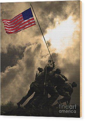 Raising The Flag At Iwo Jima 20130211 Wood Print by Wingsdomain Art and Photography