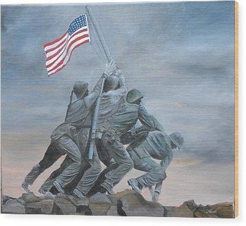Raising The Flag At Iwo Jima Wood Print