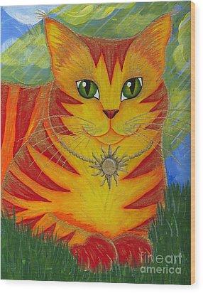 Rajah Golden Sun Cat Wood Print