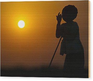 Rajasthan Silhouette Wood Print