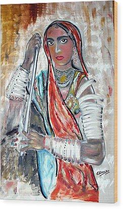 Rajasthani Woman Wood Print by Narayanan Ramachandran