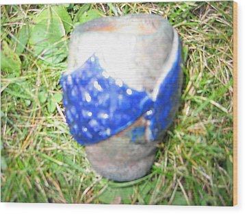 Raku Pinch Pot Wood Print by Julia Van Dine