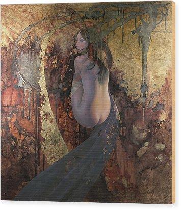 Wood Print featuring the painting Raku by Ragen Mendenhall