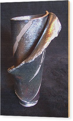 Raku Slab Wrapped Vase Wood Print by Carolyn Coffey Wallace