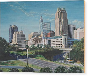 Raleigh Downtown Realistic Wood Print