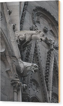 Wood Print featuring the photograph Ram And Eagle Griffon Notre Dame by Christopher Kirby