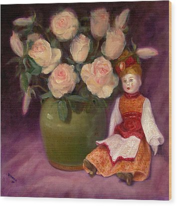 Wood Print featuring the painting Ramblin Rose by Donelli  DiMaria