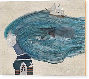 Wood Print featuring the painting Ramona by Bri B