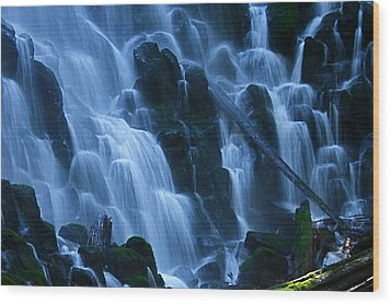 Ramona Falls In Close Wood Print by Todd Kreuter