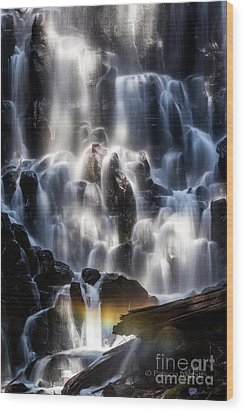 Ramona Falls With Rainbow Wood Print