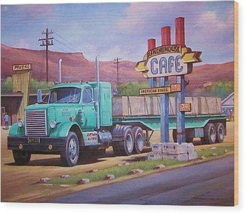 Wood Print featuring the painting Ranch House Truckstop. by Mike Jeffries