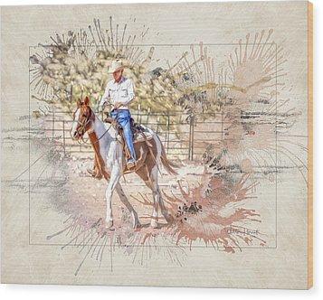 Ranch Rider Digital Art-b1 Wood Print